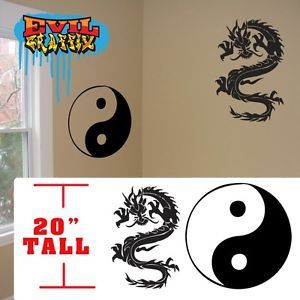 Dragon Wall Stickers Yin Yang Chinese Martial Arts Decal Symbol Dragon Sticker