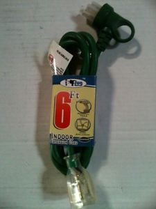 New 6' Heavy Duty Indoor Extension Cord Green