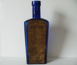 1800s RARE Cancer Plant Cobalt Blue Medicine Glass Bottle N Y Medical University