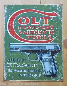 Colt 1903 Hammerless Extra Safety Gun Revlovers Automatic Pistols Tin Metal Sign