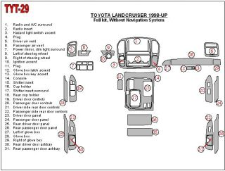 Toyota Land Cruiser Interior Wood Dash Trim Kit Set 1998 98 1999 2000 2001 2002