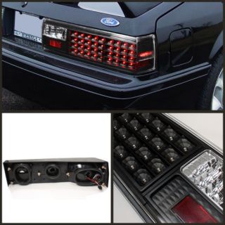 LED Bumper Fog 87 93 Ford Mustang LED Black Tail Lights Lamp Pair Taillights Set