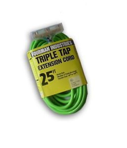 New Contractor Grade Outdoor Extension Cord 12 Gauge 25ft Triple Tap Green Tri