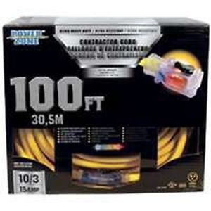 New in Box 10 3 x 100' ft Power Zone Ultra Heavy Gauge Extension Cord 7594864