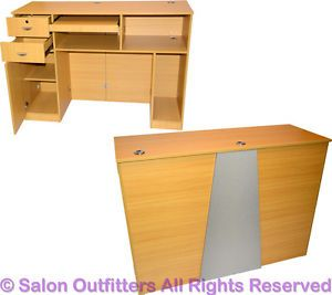 Professional Natural Oak Reception Office Computer Desk Beauty Salon Equipment