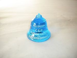 Vintage Bell Systems Glass Paperweight Cobalt Blue C P Telephone Systems