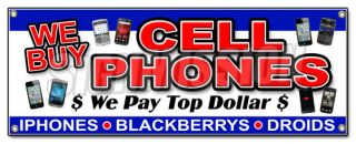 We Buy Cell Phones Banner Sign Computers Games Mobile Batteries Smartphones