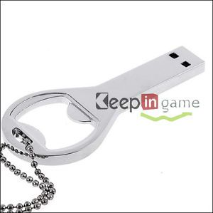 New 4GB Silver Beer Bottle Opener Key Model USB 2 0 Flash Memory Drive Pen Stick