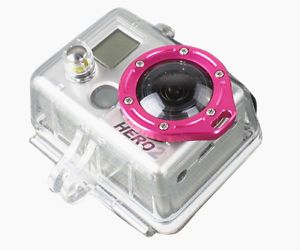 New Pink Gopro Accessories Aluminum Lens Lanyard Ring Mount For GoPro