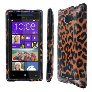 For HTC Windows Phone 8x Brown Leopard Print Skin Full Coverage Hard Case Cover
