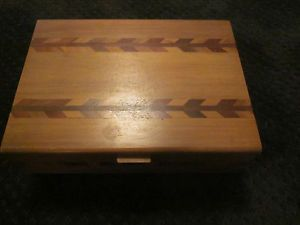 Vintage Antique Wooden Trinket Jewelry Box Multicolored Inlaid Wood Top and Side