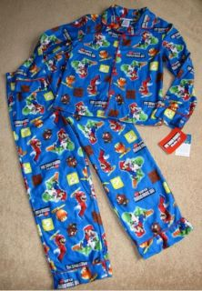 Nintendo Super Mario Bros Wii Game Flannel Pajamas PJs Sz 9 10