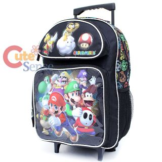 "Nintendo Super Mario 16"" Large School Roller Backpack and Lunch Bag Set Black"