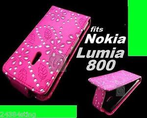 Diamond Bling Glitter Leather Flip Case Cover Pouch for Nokia Lumia 800 N800