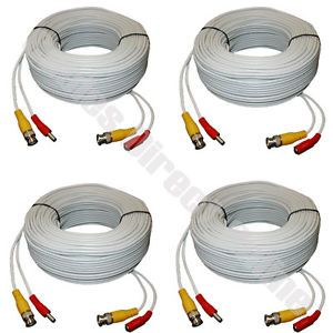 4X 10ft CCTV Camera Cable Surveillance Wire Video BNC Cord Power Security DVR