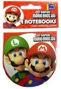 Official Licensed Super Mario Bros 4 x Party Notebooks Bag Fillers Kids Birthday