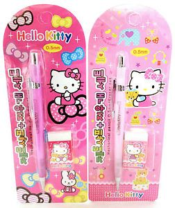 Hello Kitty Office School Supplies Pink Girls Mechanical Pencil Set with Eraser