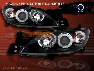 2004 2008 Mazda 3 Sedan JDM Black CCFL Halo Projector Headlights 05 06 07