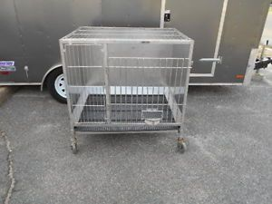 Lab Care Veterinary Stainless Steel Rolling Pet Cage Breeder Dog Cat Kennel