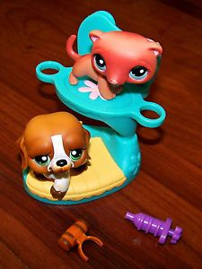 Littlest Pet Shop LPS Cozy Care Center Saint Bernard Dog 335 Ferret 334