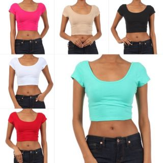 Crop Top Belly Baring Shirt Ballerina Solid Cotton Stretch Cap Short Sleeve New