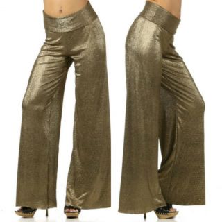 Womens s M L Pants Wide Leg Metallic Shimmer Gold Crepe Palazzo Stretch Sexy New