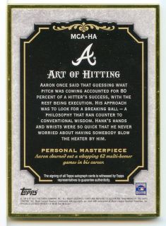 2012 Hank Aaron 10 15 Auto on Card Gold Metal Frame Topps Museum Collection
