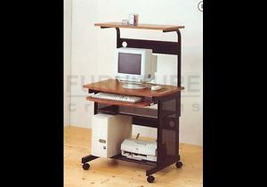 Compact Wheeled Mobile Computer Desk with Storage Shelf
