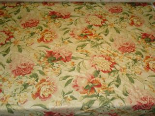 Yellow Gold Pink Floral Cotton Print Fabric BTY
