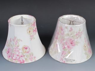 2 Simply Shabby Chic Small Lamp Shades Pink Floral Roses