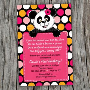 Pretty Panda Bear Printable Baby Shower or Birthday Invitations Any Color