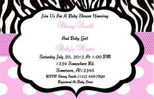 Pink Zebra Minnie Mouse Baby Shower Invitation Personalized Digital Printable