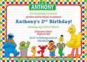 Sesame Street Elmo Personalized Birthday Party Invitation Printable Digital File