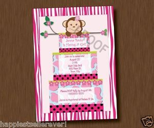 Jungle Cake Monkey Printable Baby Shower Invitation Girl Birthday Zebra Stripe
