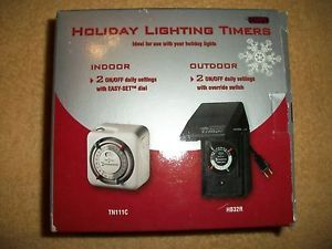 Indoor Outdoor Holiday Lighting Timers Pair TN111C HB32R