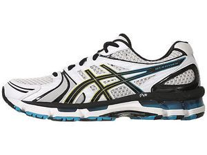 Asics Gel Kayano 18 Mens White Black Hot Blue Running Training New Size 11