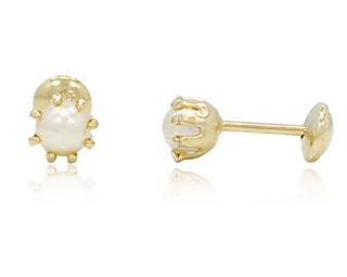 Gold Filled 18K Small Earrings 4mm White Pearl Security Safety Stud Baby Girl