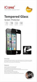 Icarez Tempered Glass Anti Blast Screen Protector Black Color for iPhone 4 4S