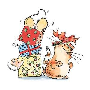 Penny Black Rubber Stamps not Til Christmas Mice Cat in Presents Stamp