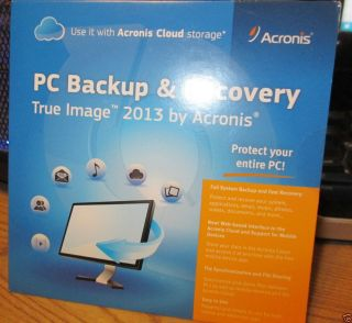 Brand New Acronis True Image 2013 PC Backup Recovery Software Factory SEALED 817474010264
