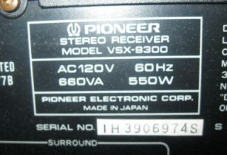 1980s Pioneer VSX 9300 Audio Video Stereo Receiver Dolby Surround Pro Logic