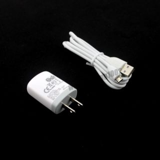 US White Home Wall Charger USB Data Cable for HTC Onex HD2 EVO 4G