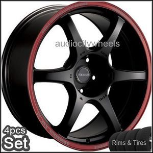 "17"" Wheels Tires Tenzo DC6 Black Red Ring Rims Lexus"