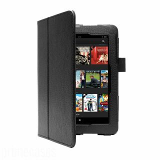 Black Leather Premium Smart Case Cover for New  Kindle Fire HDX 7""