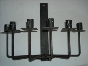 Vintage Rustic Black Wrought Iron Wall Mount Candle Holder Candelabra