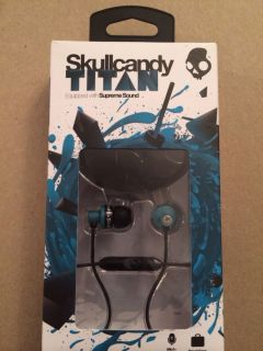 Skullcandy Titan Teal Blue Black MIC1 Supreme Sound Earbuds with Travel Case