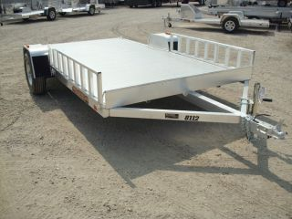 "8324 New 2014 Aluma All Aluminum Utility Trailer 81""x12' Side Ramps Model 8112"