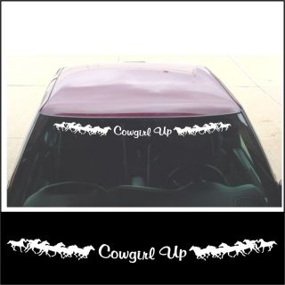 Windshield Cowgirl Up Running Horse Decal for Country Truck or Trailer White