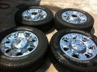 "20"" Ford F250 F350 Chrome Clad Wheels Michelin Tires"