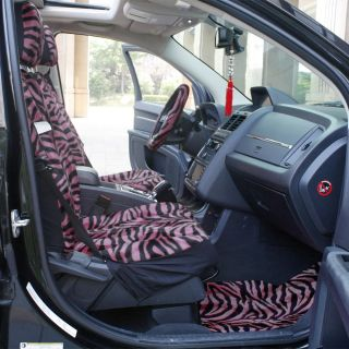 6 PC Zebra Pink and Black Animal Print Low Back Front Bucket Van Seat Covers Set